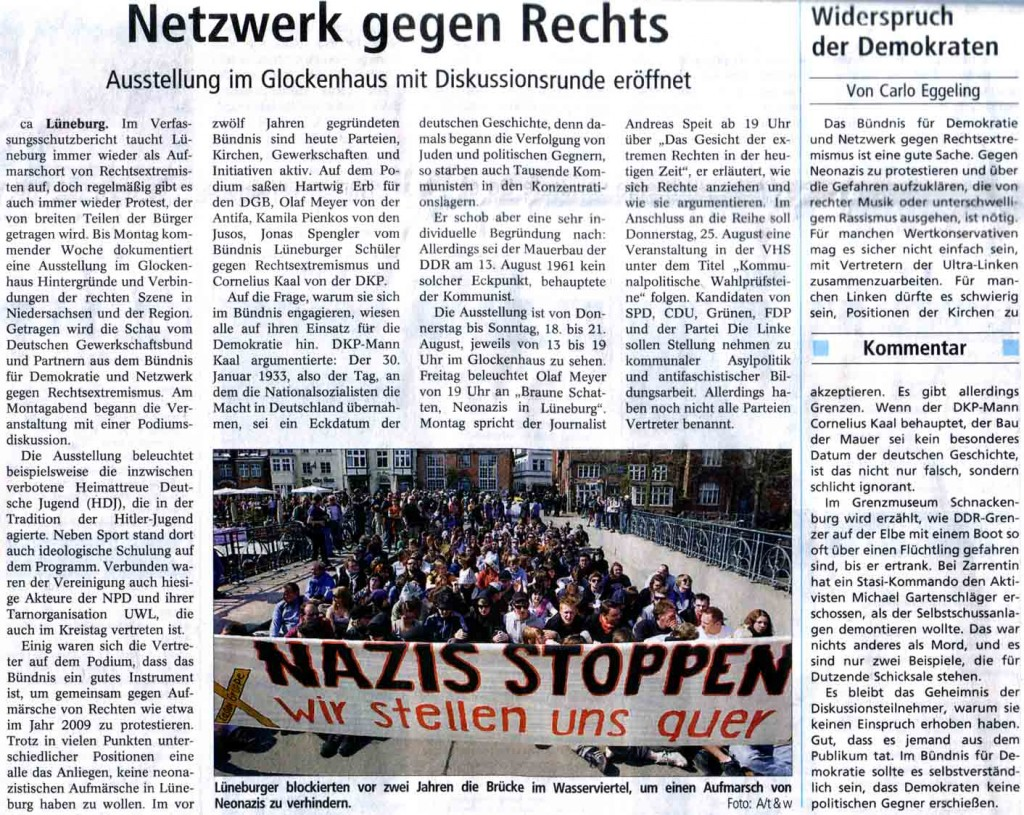 Landeszeitung zur Ausstellungseröffnung und Auftakt der Veranstaltungsreihe